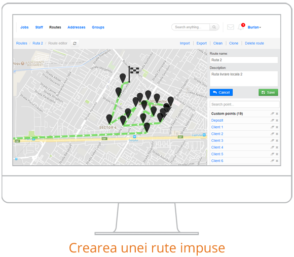 optimizare rute crearea unei rute impuse