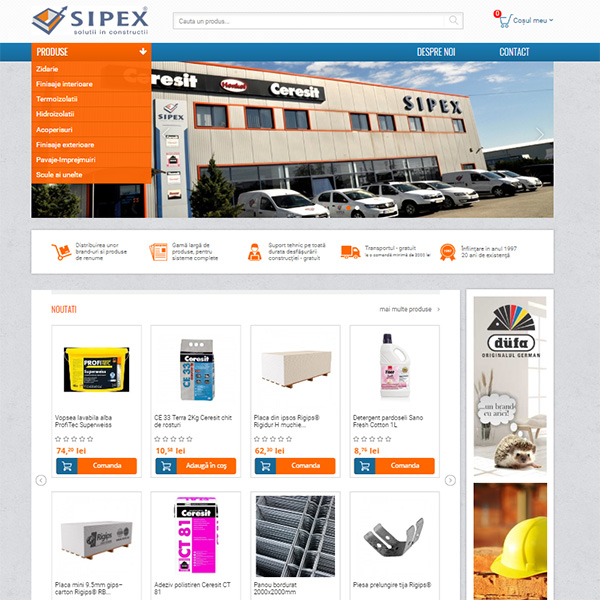 sipex constructii implementare ecommerce romania magazin online