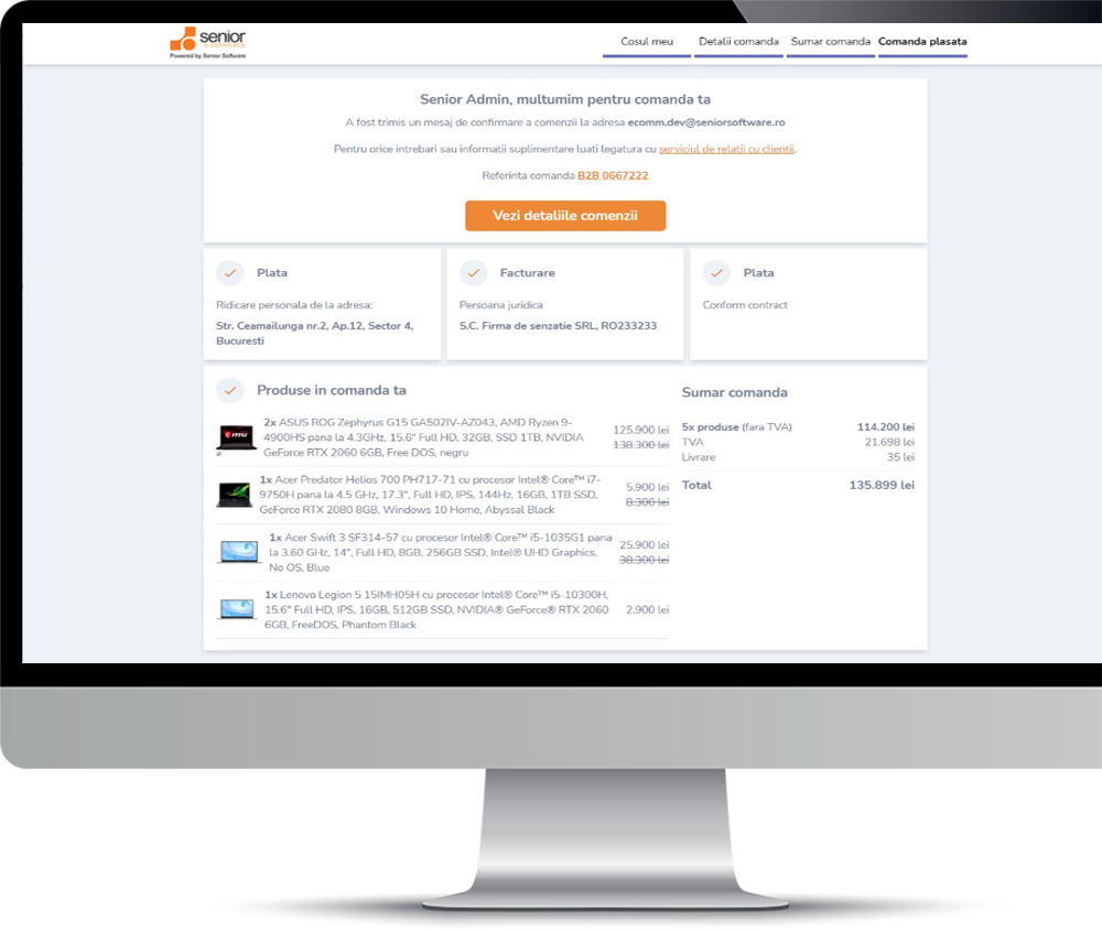 caranda client senior software ecommerce b2b business to business platforma romania