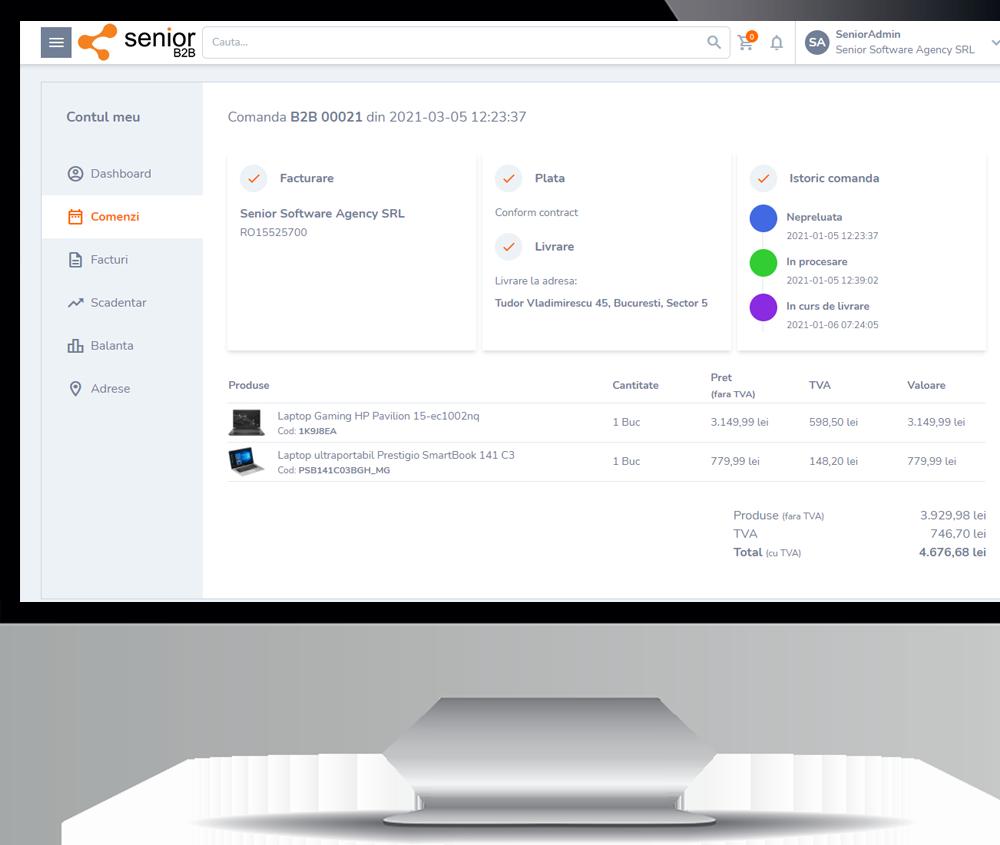 client senior software ecommerce b2b business to business platforma romania