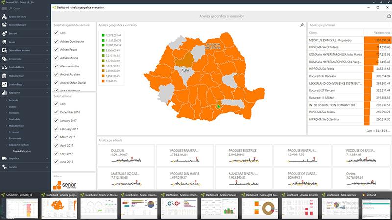 business software ERP module - raportare si analiza